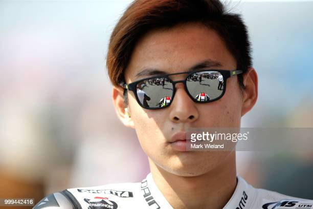 Taksuki Suzuki of Japan and SIC58 Squadra Corse Team prepares for the Moto3 race during the MotoGP of Germany at Sachsenring Circuit on July 15 2018...