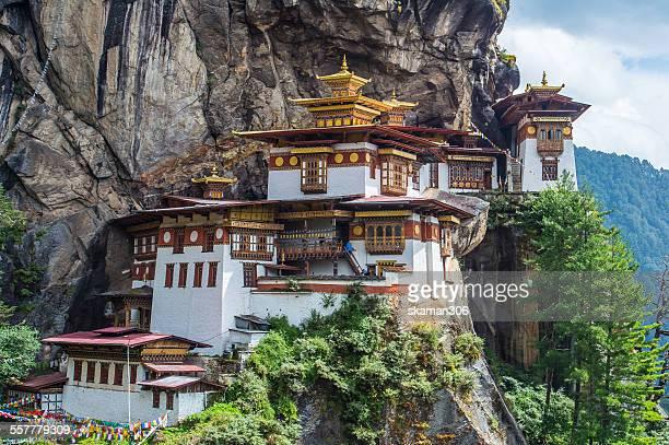 taktsang monastery at paro - paro stock photos and pictures