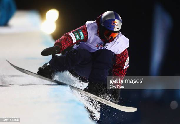 Taku Hirako of Japan hits the edge of the ice and crashes during the Men's Snowboard Halfpipe Final on day four of the FIS Freestyle Ski and...
