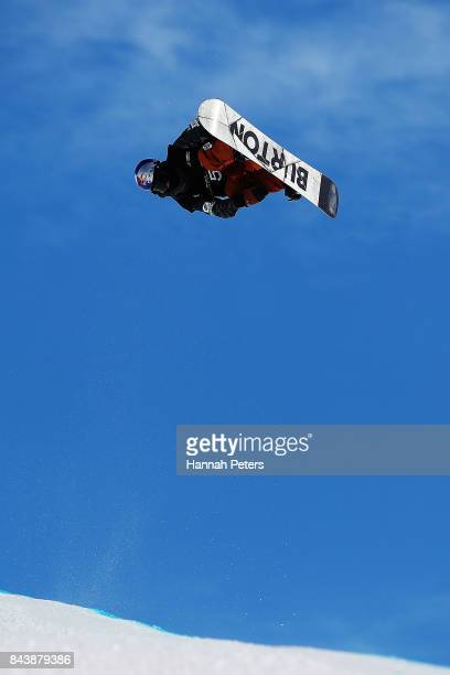Taku Hiraoka of Japan competes during the Winter Games NZ FIS Men's Snowboard World Cup Halfpipe Finals at Cardrona Alpine Resort on September 8 2017...