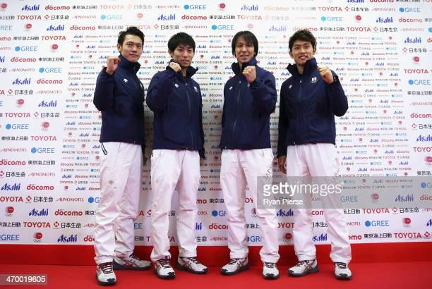 Taku Takeuchi Daiki Ito Noriaki Kasai and Reruhi Shimizu of Japan attend a Japanese medalist press conference at Japan House on day 11 of the Sochi...