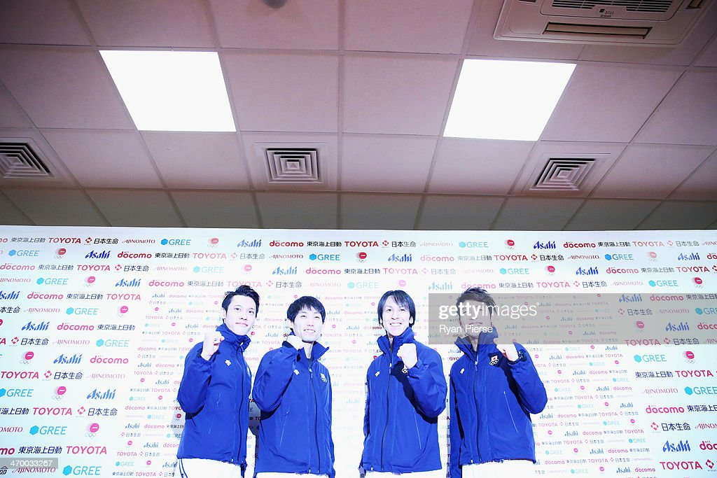 Taku Takeuchi, Daiki Ito, Noriaki Kasai and Reruhi Shimizu of Japan attend a Japanese medalist press conference at Japan House on day 11 of the Sochi 2014 Winter Olympics on February 18, 2014 in Sochi, Russia.