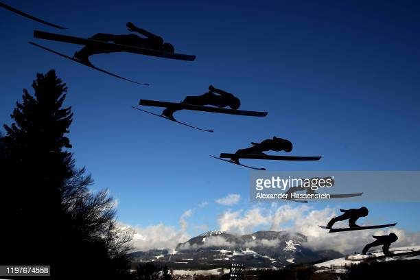 Taku Takeuchi of Japan competes during a training session for the 68th FIS Nordic World Cup Four Hills Tournament at PaulAusserleitnerSchanze on...