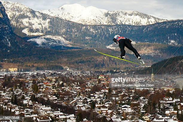 Taku Takeuchi of Japan in action during the FIS Ski Jumping World Cup Vierschanzentournee on January 1, 2012 in Garmisch-Partenkirchen, Germany.