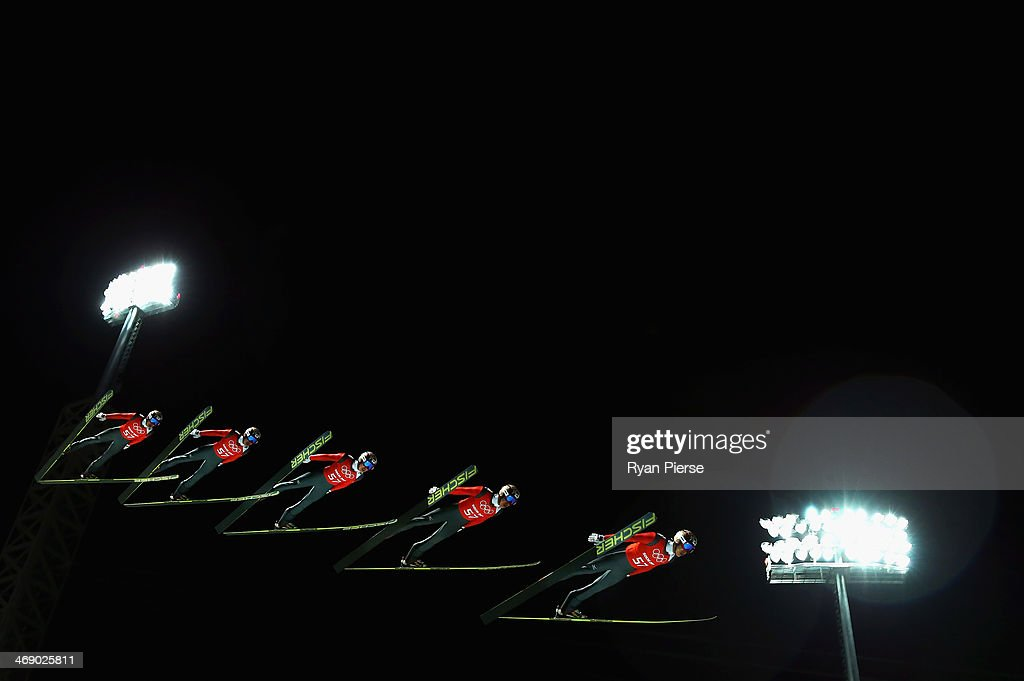 Taku Takeuchi of Japan jumps during Men's Large Hill Ski Jumping Official Training at RusSki Ski Jumping Centre on day five of the Sochi 2014 Winter Olympics on February 12, 2014 in Sochi, Russia.