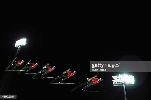 Taku Takeuchi of Japan jumps during Men's Large Hill Ski Jumping Official Training at RusSki Ski Jumping Centre on day five of the Sochi 2014 Winter...