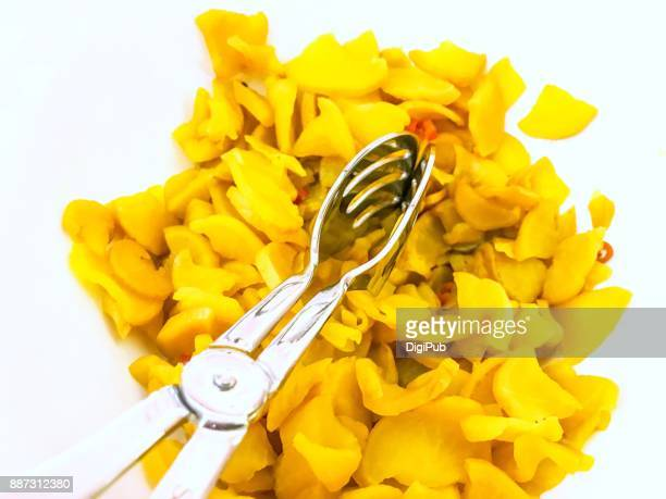 takuan with serving utensils - takuan stock photos and pictures