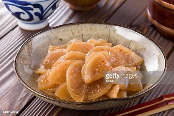takuan-no-kinpira - takuan stock photos and pictures