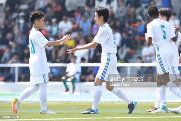 Takuhiro Nakai and Bruno Iglesias Lois of Real Madrid Cadete B celebrate their second goal during the U-15 Kirin Lemon Cup match between Real Madrid...