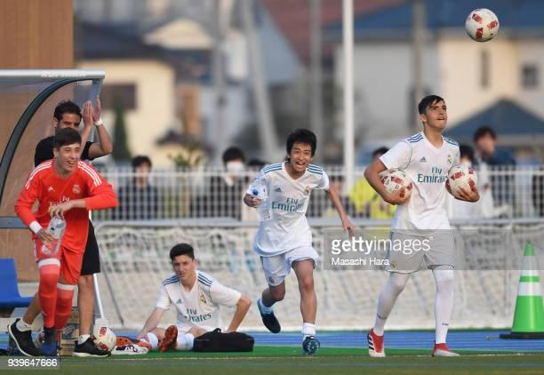 Takuhiro Nakai of Real Madrid Cadete B celebrates the victory after the U-15 Kirin Lemon Cup Final match between Real Madrid Cadete B and Shonan...