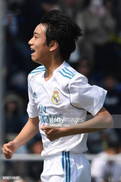 Takuhiro Nakai of Real Madrid Cadete B celebrates their first goal during the U-15 Kirin Lemon Cup match between Real Madrid Cadete B and Mitsubishi...