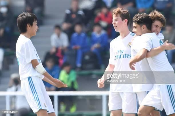 Takuhiro Nakai of Real Madrid Cadete B celebrates their second goal during the U-15 Kirin Lemon Cup match between Real Madrid Cadete B and Mitsubishi...