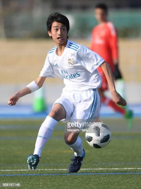 Takuhiro Nakai of Real Madrid Cadete B in action during the U-15 Kirin Lemon Cup match between Real Madrid Cadete B and SC Sagamihara U-15 on March...