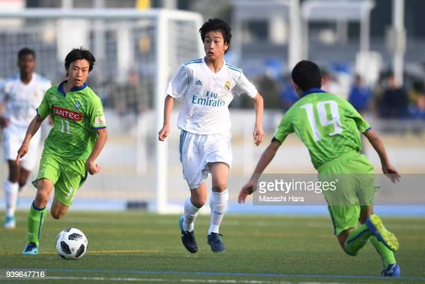 Takuhiro Nakai of Real Madrid Cadete B in action during the U-15 Kirin Lemon Cup Final match between Real Madrid Cadete B and Shonan Bellmare U-15 on...