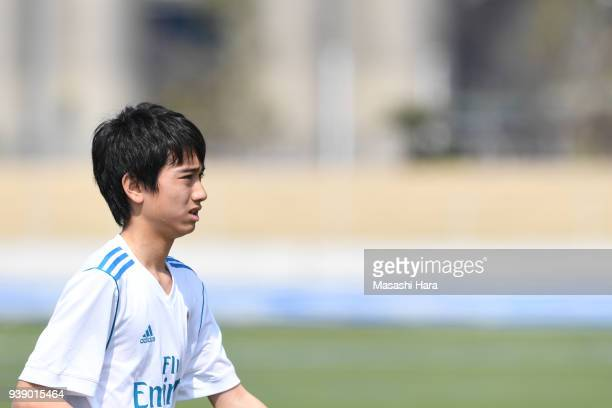 Takuhiro Nakai of Real Madrid Cadete B looks on prior to the U-15 Kirin Lemon Cup match between Real Madrid Cadete B and Mitsubishi Yowa Soccer Club...