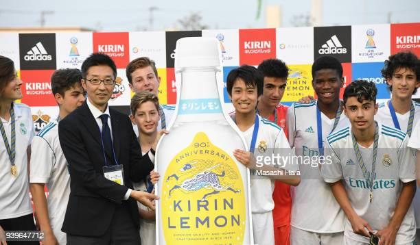 Takuhiro Nakai of Real Madrid Cadete B pose for photograph after the U-15 Kirin Lemon Cup Final match between Real Madrid Cadete B and Shonan...
