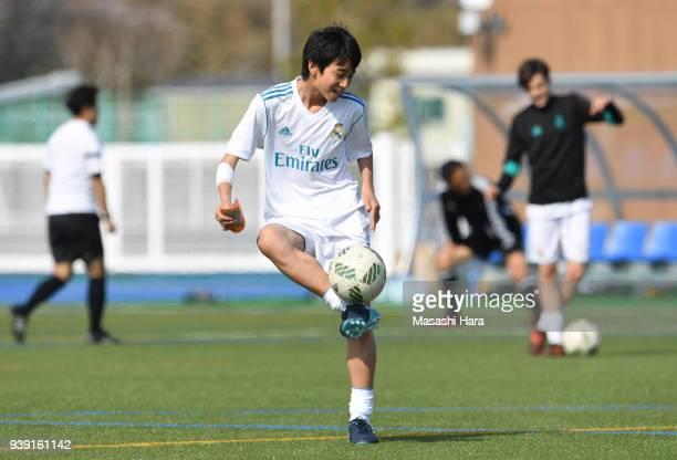 Takuhiro Nakai of Real Madrid Cadete B practices prior to the U-15 Kirin Lemon Cup match between Real Madrid Cadete B and SC Sagamihara U-15 on March...