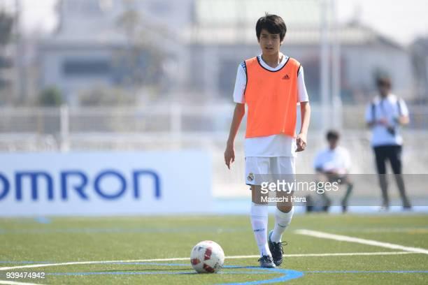 Takuhiro Nakai of Real Madrid Cadete B practices prior to the U-15 Kirin Lemon Cup match between Real Madrid Cadete B and Omiya Ardija U-15 on March...