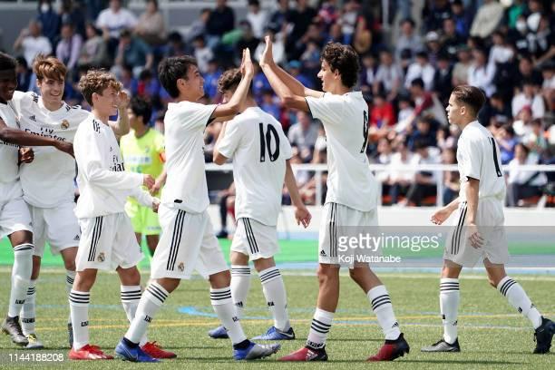 Takuhiro Nakai of Real Madrid celebrates during the U16 Kirin Lemon Cup semi final between Real Madrid and JEF United Chiba at Yanagishima Sports...
