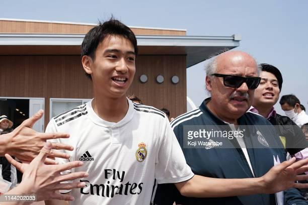 Takuhiro Nakai of Real Madrid high fives with fans prior to the U16 Kirin Lemon Cup final between Real Madrid and FC Tokyo at Yanagishima Sports Park...