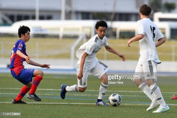 Takuhiro Nakai of Real Madrid in action during the U16 Kirin Lemon Cup final between Real Madrid and FC Tokyo at Yanagishima Sports Park on April 21,...