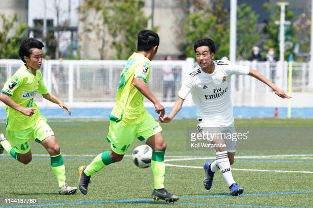 Takuhiro Nakai of Real Madrid in action during the U16 Kirin Lemon Cup semi final between Real Madrid and JEF United Chiba at Yanagishima Sports Park...