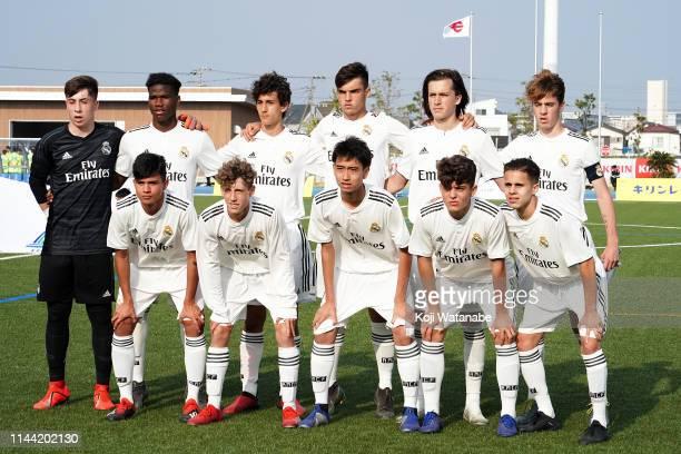 Takuhiro Nakai of Real Madrid line up for the team photos prior to the U16 Kirin Lemon Cup final between Real Madrid and FC Tokyo at Yanagishima...