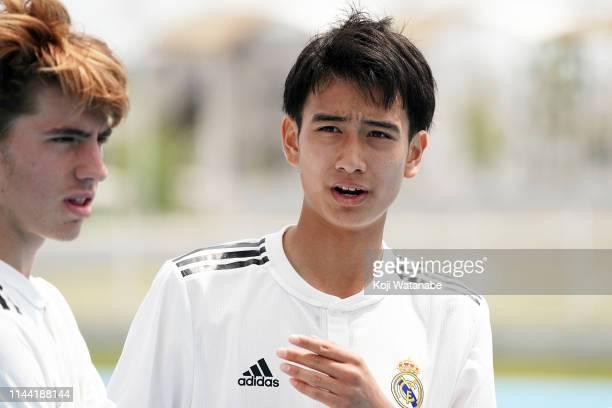 Takuhiro Nakai of Real Madrid looks on during the U16 Kirin Lemon Cup semi final between Real Madrid and JEF United Chiba at Yanagishima Sports Park...