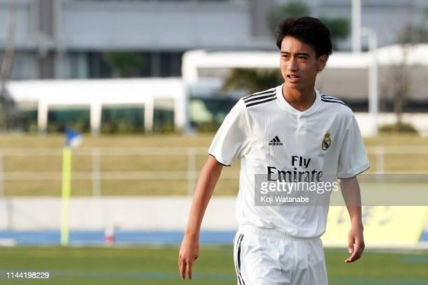 Takuhiro Nakai of Real Madrid looks on during the U16 Kirin Lemon Cup final between Real Madrid and FC Tokyo at Yanagishima Sports Park on April 21,...