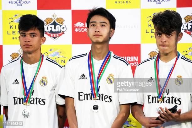 Takuhiro Nakai of Real Madrid Players pose for photographers after the U16 Kirin Lemon Cup final between Real Madrid and FC Tokyo at Yanagishima...