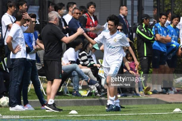 "Takuhiro Nakai ""Pipi"" of Real Madrid Cadete B looks on during the U-15 Kirin Lemon Cup match between Real Madrid Cadete B and Shonan Bellmare U-15 on..."