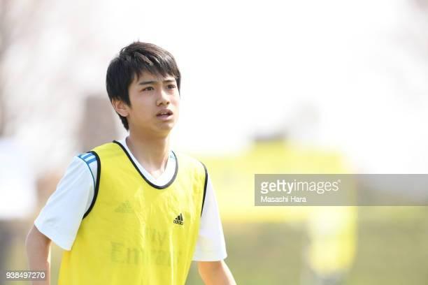 "Takuhiro Nakai ""Pipi"" of Real Madrid Cadete B looks on prior to the U-15 Kirin Lemon Cup match between Real Madrid Cadete B and Shonan Bellmare U-15..."