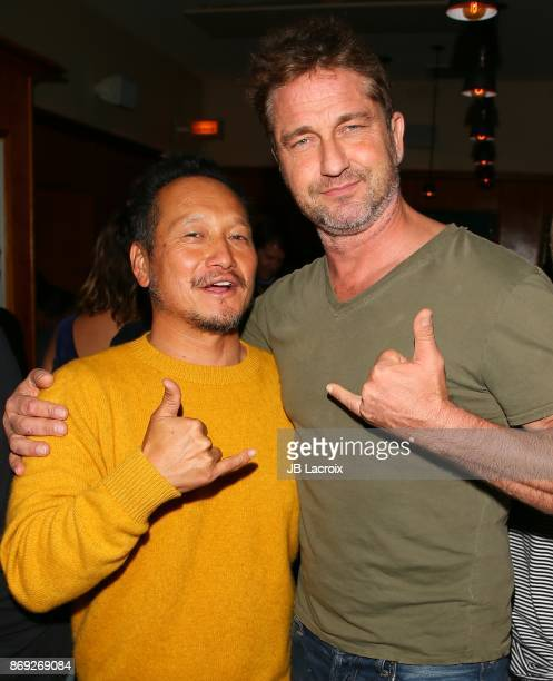 Takuji Masuda and Gerard Butler attend the after party of Endangered Spirit's 'Bunker77' on November 01 2017 in Santa Monica California