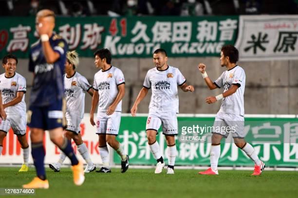Takuma ABE of FC Ryukyu celebrates scoring his side's second goal during the J.League Meiji Yasuda J2 match between Matsumoto Yamaga and FC Ryukyu...