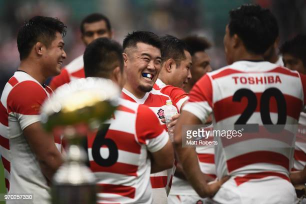 Takuma Asahara of Japan celebrates with team mates during the Rugby international match between Japan and Italy at Oita Bank Dome on June 9, 2018 in...