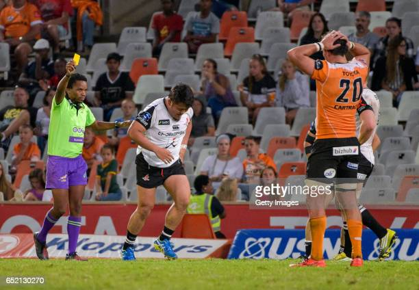 Takuma Asahara of Sunwolves getting a yellow card during the Super Rugby match between Toyota Cheetahs and Sunwolves at Toyota Stadium on March 11,...