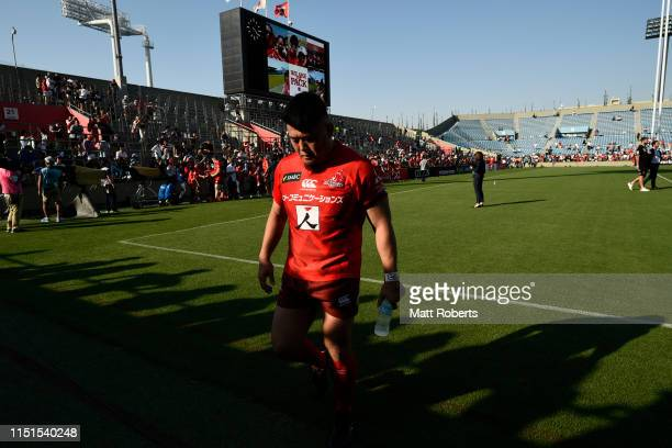 Takuma Asahara of the Sunwolves leaves after the Super Rugby match between Sunwolves and rebels at the Prince Chichibu Memorial Ground on May 25,...