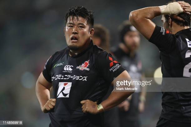 Takuma Asahara of the Sunwolves looks dejected after defeat in the round 13 Super Rugby match between the Brumbies and Sunwolves at GIO Stadium on...