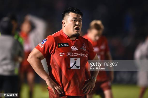 Takuma Asahara of the Sunwolves shows dejection after the round 11 Super Rugby match between Sunwolves and Highlanders at the Prince Chichibu...