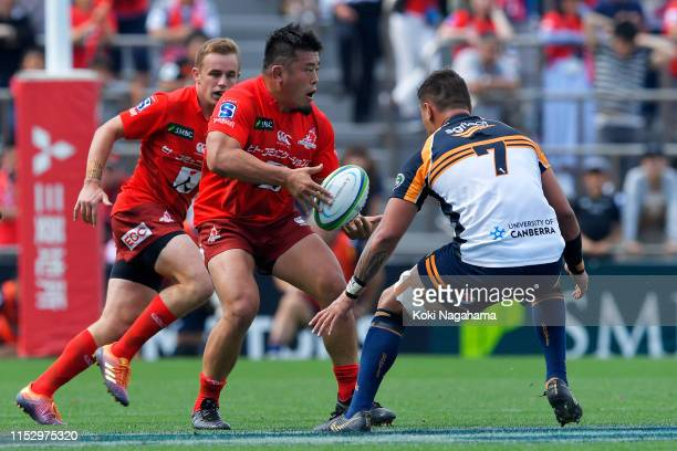 Takuma Asahara of the Sunwolves takes on Jahrome Brown of the Brumbies during the Super Rugby match between Sunwolves and Brumbies at the Prince...