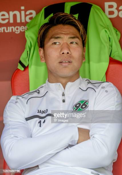 Takuma Asano of Hannover 96 looks on prior the Bundesliga match between Bayer 04 Leverkusen and Hannover 96 at BayArena on October 20 2018 in...