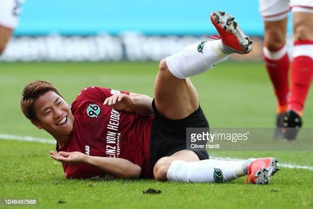 Takuma Asano of Hannover disappointed during the Bundesliga match between Hannover 96 and VfB Stuttgart at HDIArena on October 6 2018 in Hanover...