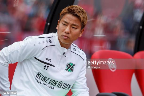 Takuma Asano of Hannover looks on prior to the Bundesliga match between 1 FC Nuernberg and Hannover 96 at MaxMorlockStadion on September 22 2018 in...