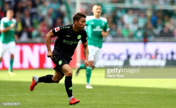 Takuma Asano of Hannover runs during the Bundesliga match between SV Werder Bremen and Hannover 96 at Weserstadion on August 25 2018 in Bremen Germany