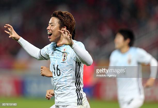 Takuma Asano of Japan celebrates after scoring a goal during the AFC U23 Championship final match between South Korea and Japan at the Abdullah Bin...