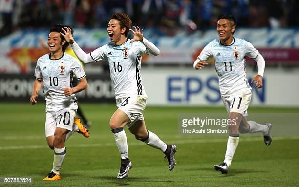 Takuma Asano of Japan celebrates scoring his team's third goal during the AFC U23 Championship final match between South Korea and Japan at the...