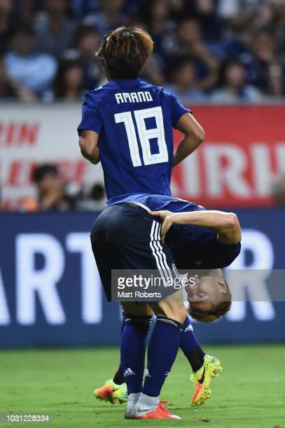 Takuma Asano of Japan grimaces during the international friendly match between Japan and Costa Rica at Suita City Football Stadium on September 11...