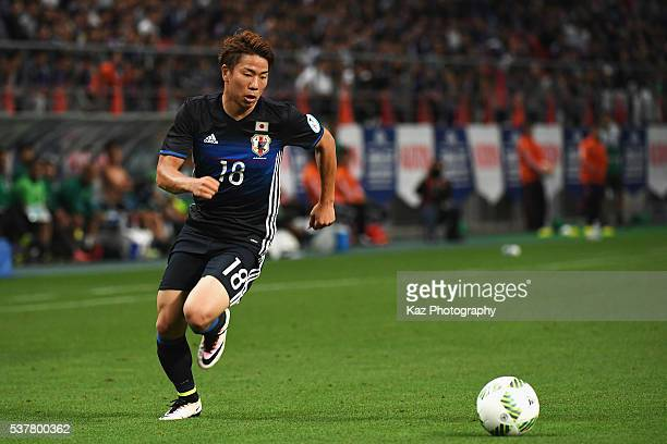 Takuma Asano of Japan in action during the international friendly match between Japan and Bulgaria at the Toyota Stadium on June 3 2016 in Toyota...