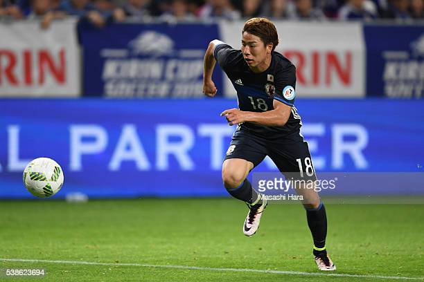 Takuma Asano of Japan in action during the international friendly match between Japan and Bosnia And Herzegovina at the Suita City Football Stadium...