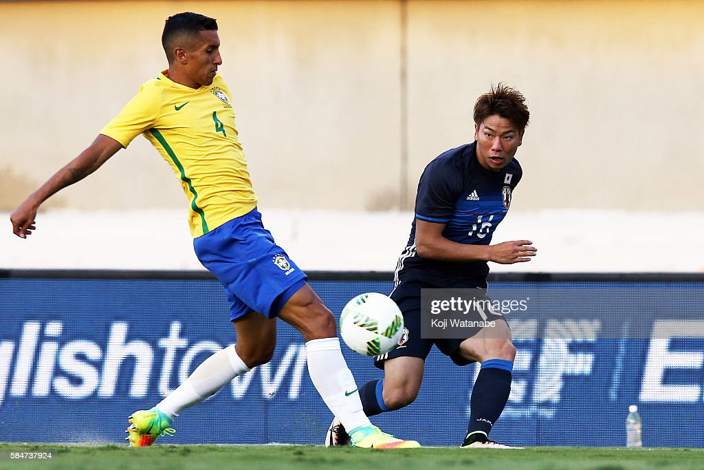Takuma Asano of Japan in action during the international friendly match between Japan and Brazil at the Estadio Serra Dourada on July 30, 2016 in Goiania, Brazil.